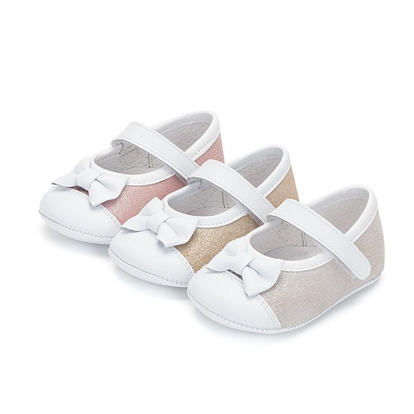 Chaussures Babies à Velcro en Cuir Nappa et Cuir Suédé Brillant