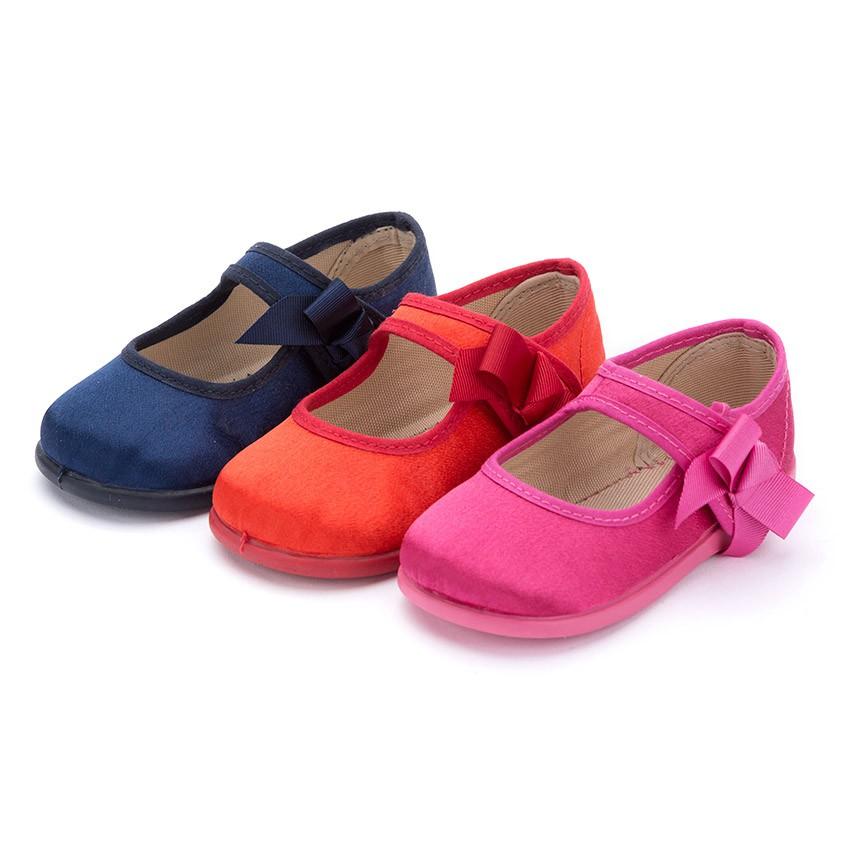 Chaussures Babies Satin Velcro pour Fille