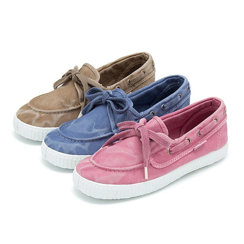 Chaussures Bateau en Toile avec Semelle Blanche