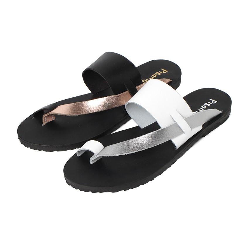 Sandales entre Doigts en Cuir Métallisé