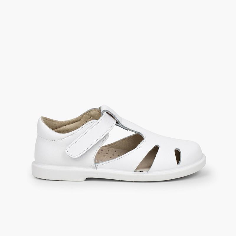 Sandales garçon cuir à scratch type chaussures salomé