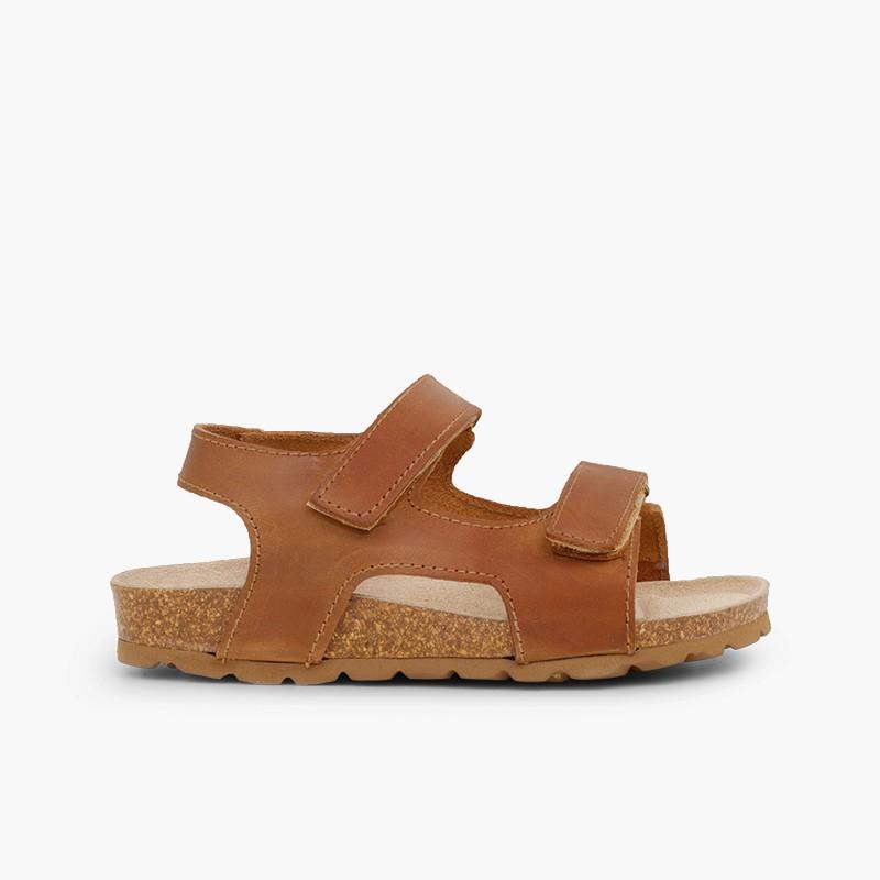 Sandales en cuir bio pour enfant double velcro