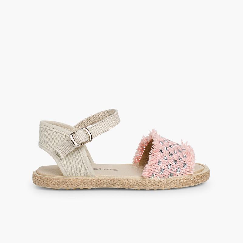 Sandales à franges et bandes brillantes