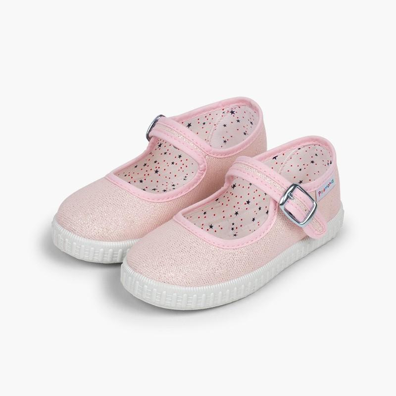Chaussures babies avec boucle en toile avec des brillants