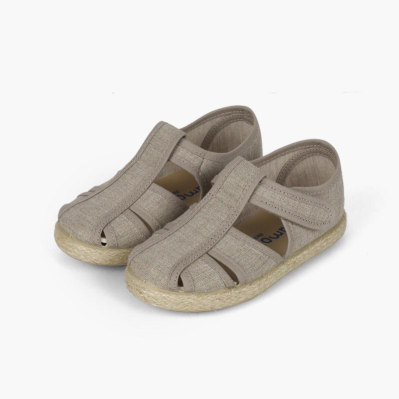 Chaussures salomé sandales ouvertures toile et jute