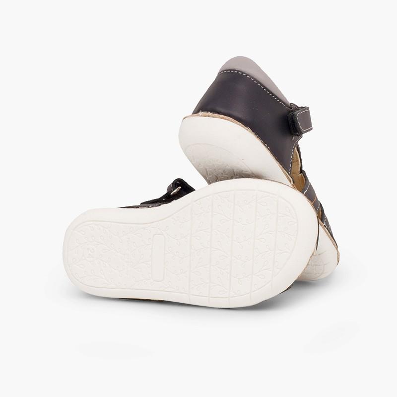 Sandales en cuir pour garçon avec du velcro