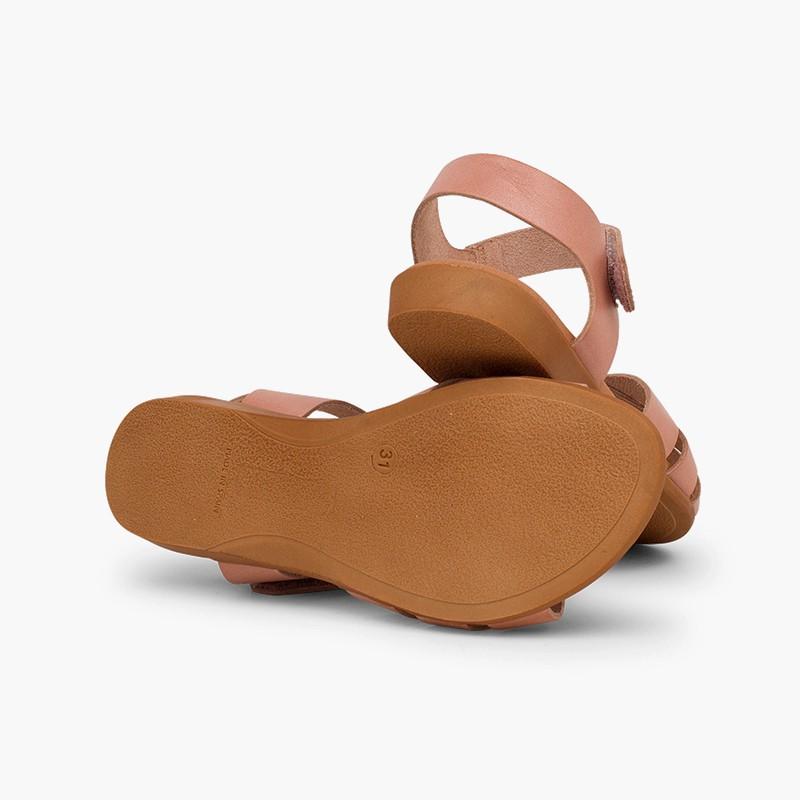 Sandale fille cuir bandes croisées fermeture velcro