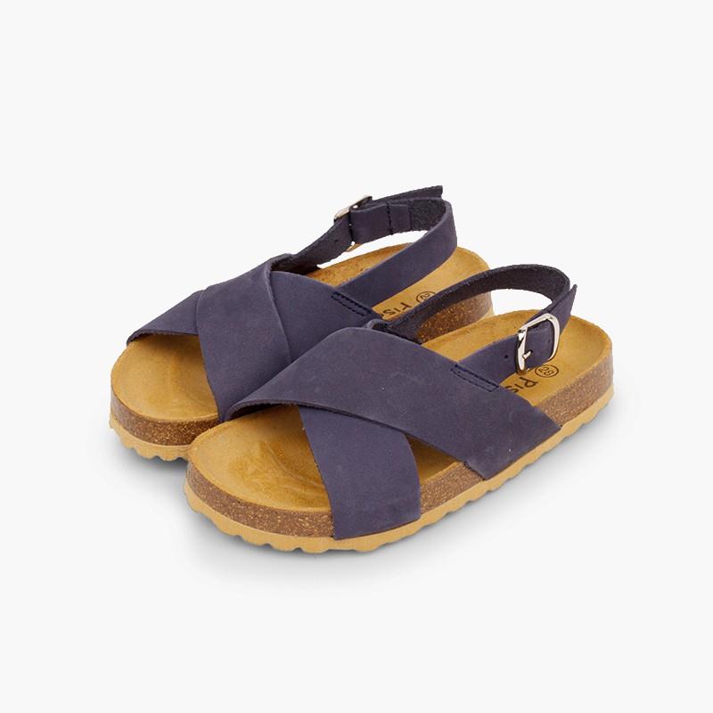 Sandales à brides croisées pour garçon en nobuck