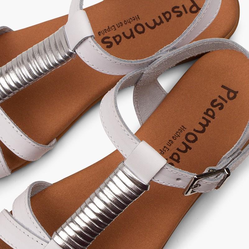 Sandales semelle rembourrée et ornement argenté