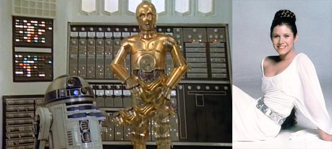 Princesa Leia y C3PO y R2D2