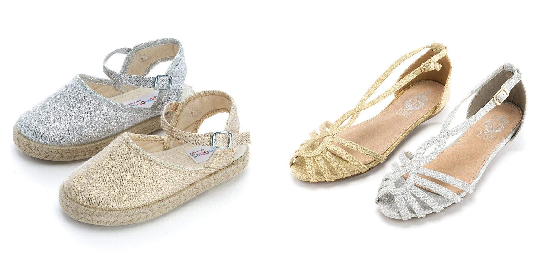 Alpargatas y sandalias de brillos para niñas