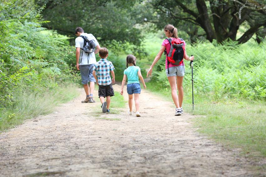 Famille se promenant en campagne